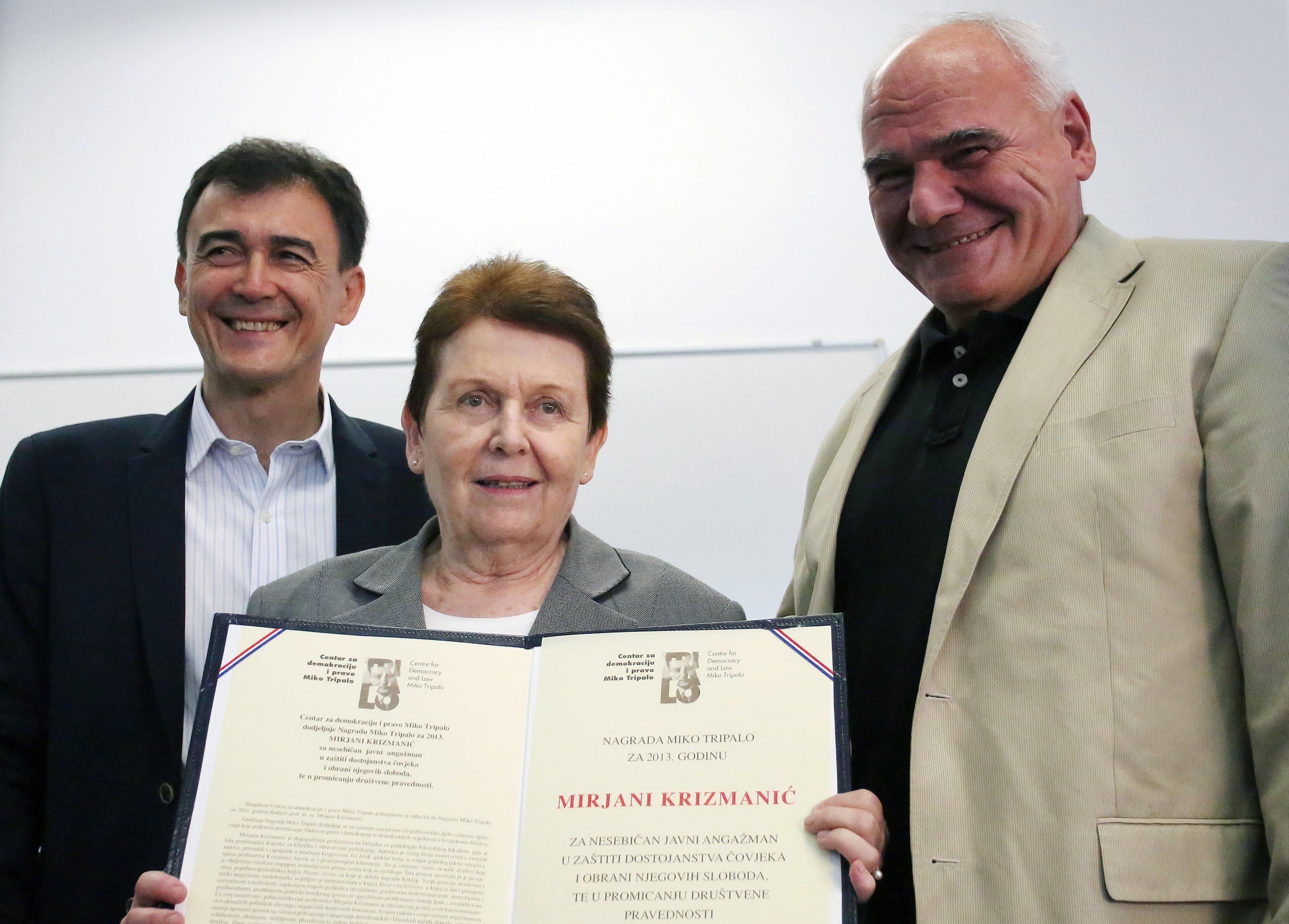 Nagrada Miko Tripalo za 2013. godinu dodijeljena Mirjani Krizmaniæ