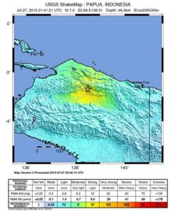 epa04863233 A handout shakemap released by the US Geological Survey (USGS) on 28 July 2015 shows the area in the West Papua region of Indonesia where a 7.0 earthquake struck at a depth of 48 km early on 28 July 2015. The quake struck inland, some 244 kilometres west of the provincial capital of Jayapura, it said. No tsunami warning was issued, and there were no immediate reports of deaths or damage.  EPA/USGS  HANDOUT EDITORIAL USE ONLY
