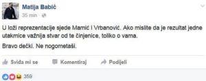 Facebook objava Matije Babića