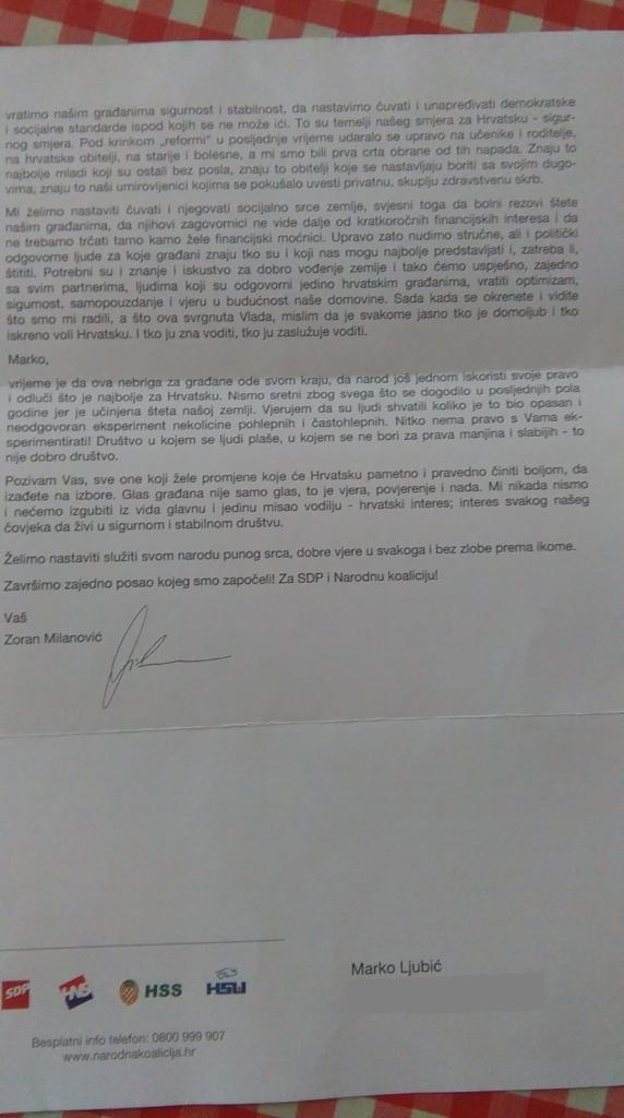 Pismo Zorana MIlanovića