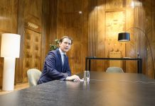 Austrian Chancellor Sebastian Kurz attends an EU leaders video conference summit in Vienna