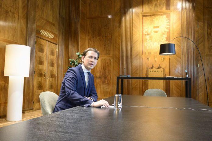 Austrian Chancellor Sebastian Kurz attends an EU leaders video conference summit in Vienna