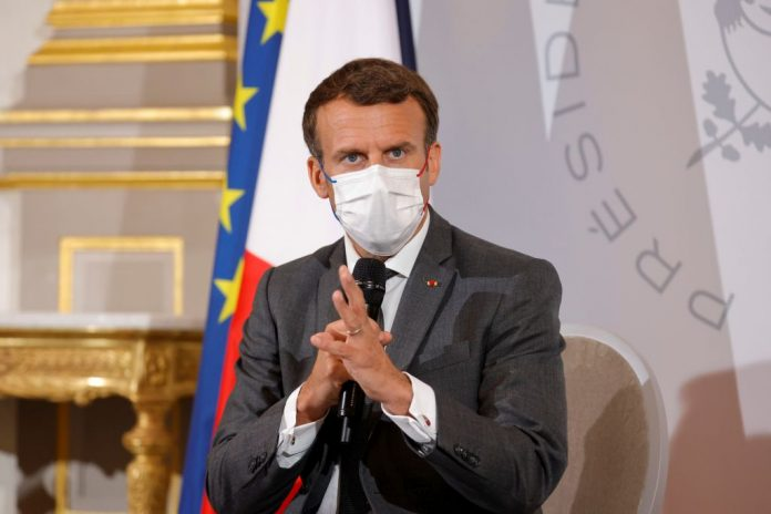 French President Macron attends a meeting with NGO representatives ahead of the G7 Summit